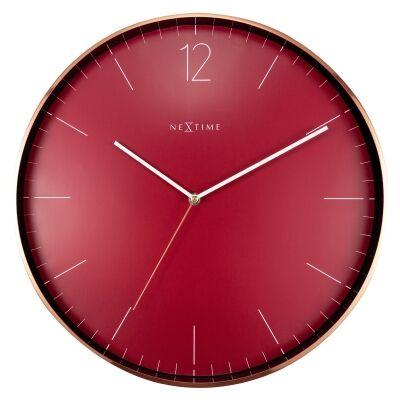 Nextime Essential Metal Frame Round Wall Clock, 40cm, Wine / Copper