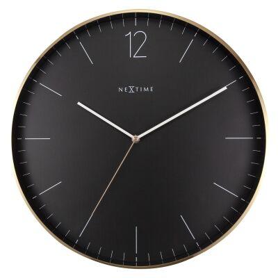Nextime Essential Metal Frame Round Wall Clock, 40cm, Black / Gold