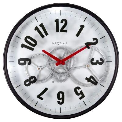 NeXtime Modern Gear Metal Round Wall Clock, 36cm, White / Black