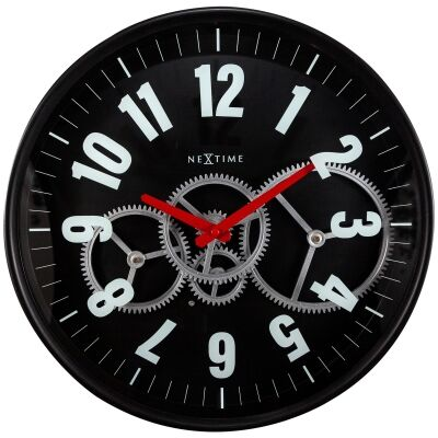 NeXtime Modern Gear Metal Round Wall Clock, 36cm, Black