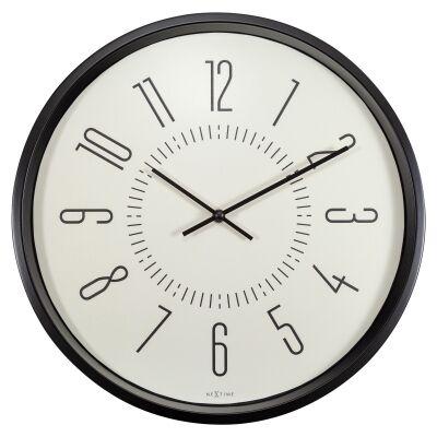 NeXtime Aurora Metal Frame Luminous Round Wall Clock, 35cm, White / Black