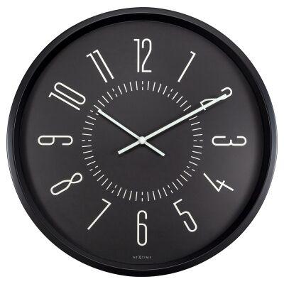 NeXtime Aurora Metal Frame Luminous Round Wall Clock, 35cm, Black