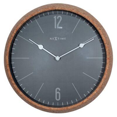 NeXtime Cork Frame Round Wall Clock, 30cm, Grey