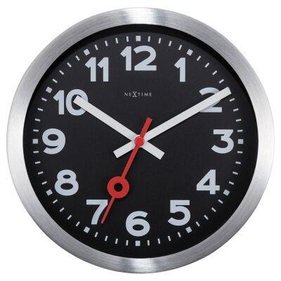 NeXtime Station Number Aluminium Wall / Table Clock, 19cm, Black