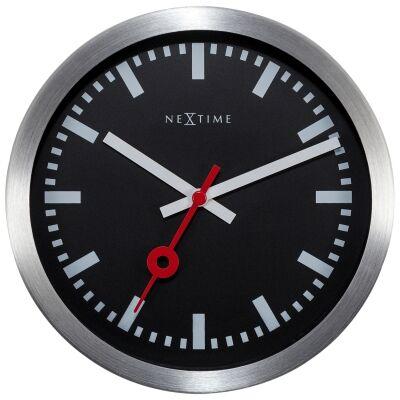 NeXtime Station Stripe Aluminium Wall / Table Clock, 19cm, Black