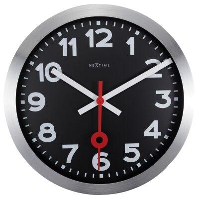 NeXtime Station Number Aluminium Wall Clock, 35cm, Black