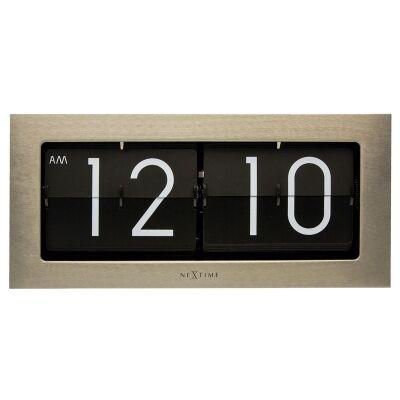 Nextime Big Flip Metal Wall / Table Clock, 36cm, Silver