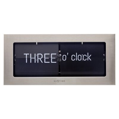 NeXtime Word Flip Metal Wall / Table Clock, 36cm, Silver