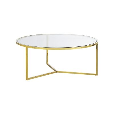 Bianka Tempered Glass & Stainless Steel Round Coffee Table, 100cm