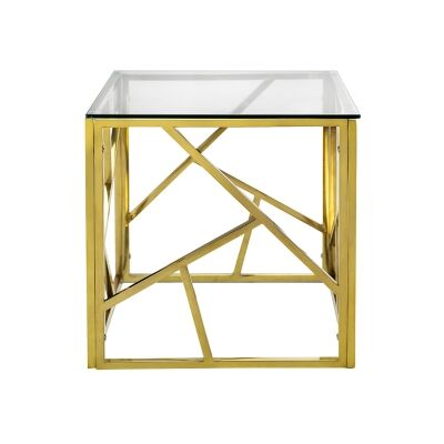 Elena Tempered Glass & Stainless Steel Cube Side Table