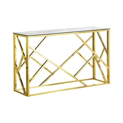Elena Tempered Glass & Stainless Steel Console Table, 120cm