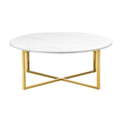 Ellie Marble & Stainless Steel Round Coffee Table, 86cm