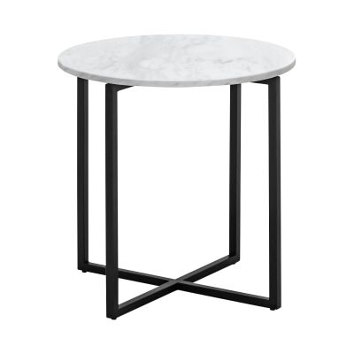 Ellie Cultured Marble & Stainless Steel Round Side Table, White / Black