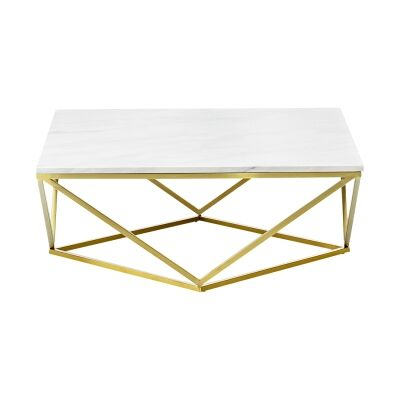 Vivianne Marble & Stainless Steel Square Coffee Table, 90cm