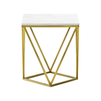 Vivianne Marble & Stainless Steel Square Side Table