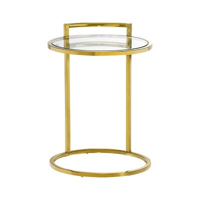 Lunar Tempered Glass & Stainless Steel Side Table