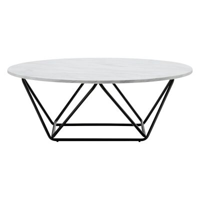 Aria Cultured Marble & Stainless Steel Round Coffee Table, 100cm