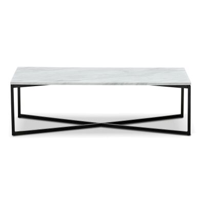 Ellie Cultured Marble & Stainless Steel Coffee Table, 120cm
