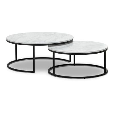 Khloe 2 Piece Cultured Marble & Stainless Steel Round Nesting Coffee Table Set, 95cm
