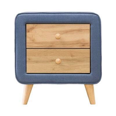 Charlie Fabric & Wood Bedside Table