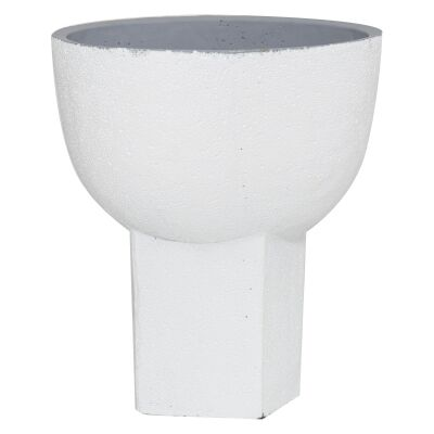 Brynlee Cement Footed Pot, White