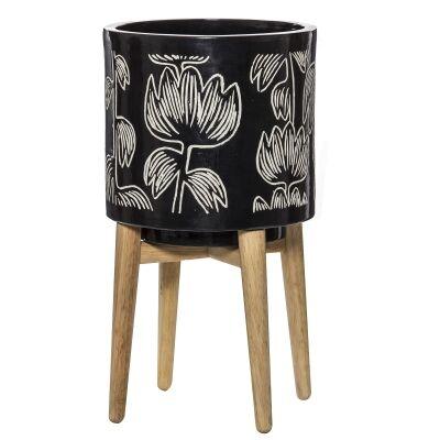 Alma Ceramic Planter Pot on Stand, Black