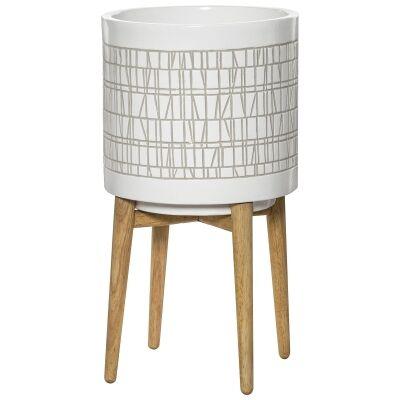 Coronna Ceramic Planter Pot on Stand, White