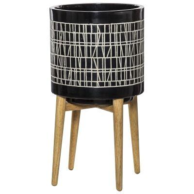 Coronna Ceramic Planter Pot on Stand, Black