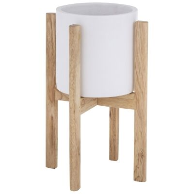 Herringbone Ceramic Pot on Stand, Small