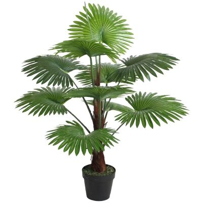 Potted Artificial Fan Palm Tree, 108cm