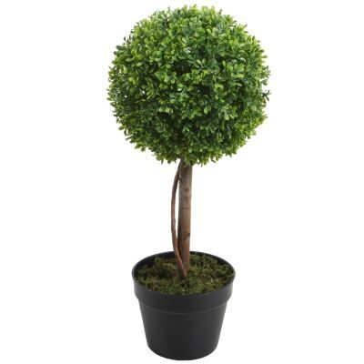 Potted Artificial Boxwood Topiary Tree, 58cm