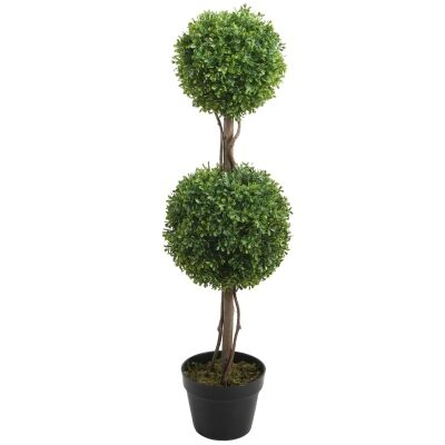 Potted Artificial Boxwood Topiary Tree, 87cm