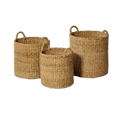 Chandni 3 Piece Woven Seagrass Basket Set