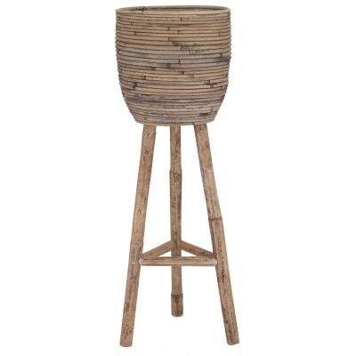 Ryland Bamboo Rattan Planter with Stand, Large