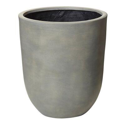 Grand Stonelite Squat Round Planter, Large, Grey