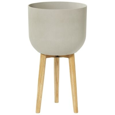 Iggy Sandstone Planter on Stand, Large, Light Grey