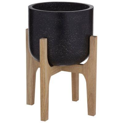 Kiana Terrazzo Planter on Timber Stand, Medium, Black