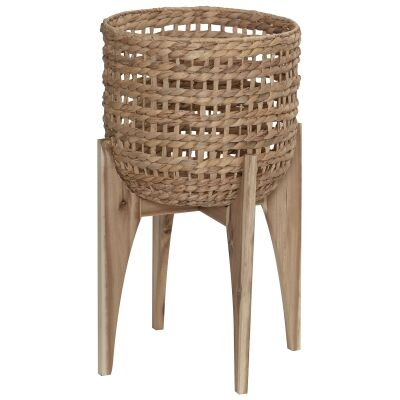 Bryson Water Hyacinth Planter with Oak Timber Stand, Large