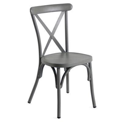 Set of 2 Ochey Commercial Grade Aluminium Indoor / Outdoor Cross Back Dining Chairs, Distressed Grey