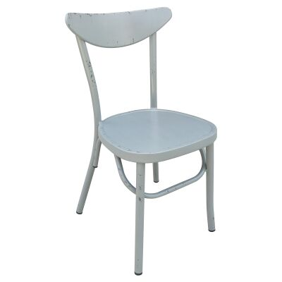 Set of 2 Luna Commercial Grade Aluminium Indoor / Outdoor Dining Chairs, Rustic Grey