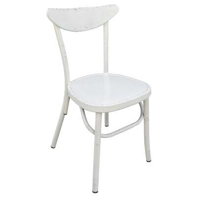 Set of 2 Luna Commercial Grade Aluminium Indoor / Outdoor Dining Chairs, Rustic White