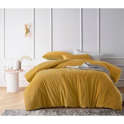 Vintage Design Homeware Cotton Velvet Quilt Cover Set, Queen, Gold Harmony