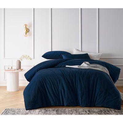 Vintage Design Homeware Cotton Velvet Quilt Cover Set, King, Riverland Blue