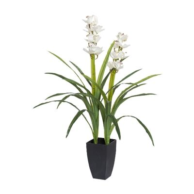 Potted Artificial White Cymbidium Orchid, 104cm