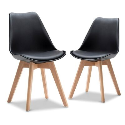 Set of 2 Brighton Dining Chairs - Black/Natural