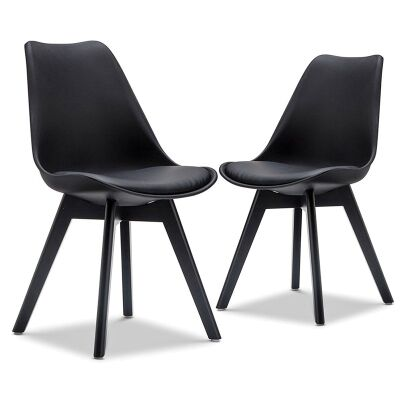 Set of 2 Brighton Dining Chairs - Black