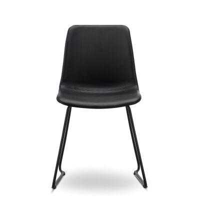 Sadel Leatherette Dining Chair, Set of 2, Black