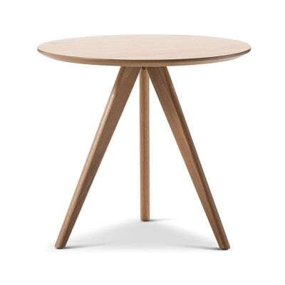 Annika Retro Wooden Round Side Table - Natural