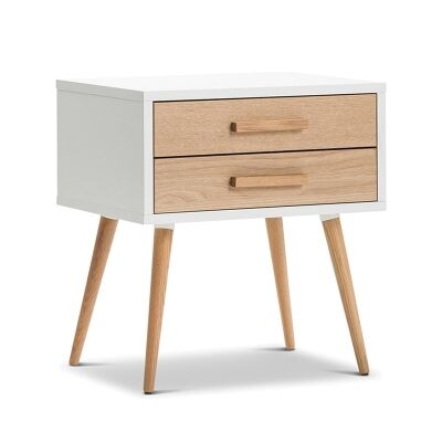 Myst Retro Wooden 2 Drawer Side Table