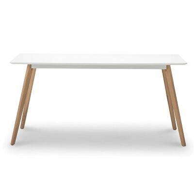Floasen Scandi Wooden Dining Table, 160cm, White / Natural